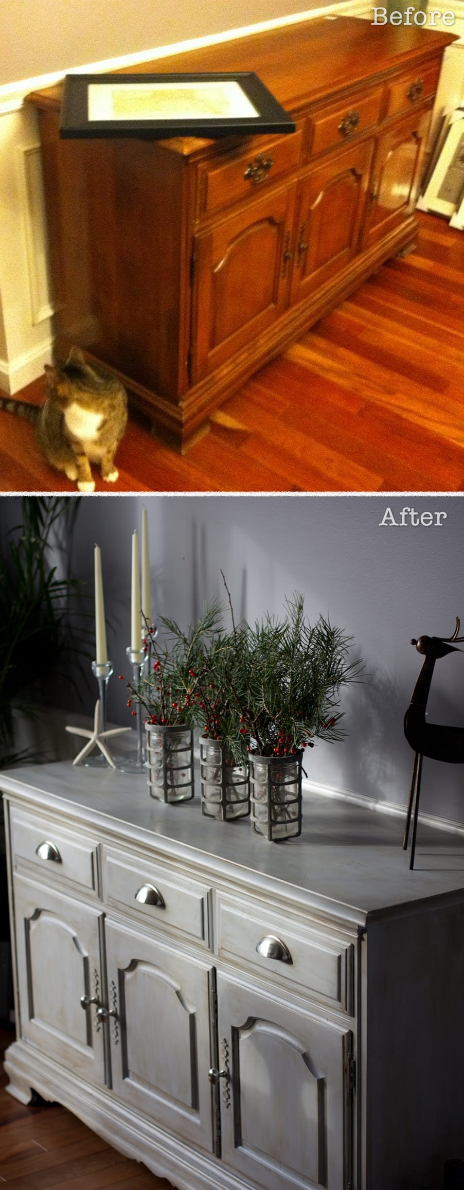 Before and after painted furniture on pinterest before for Dark grey furniture paint