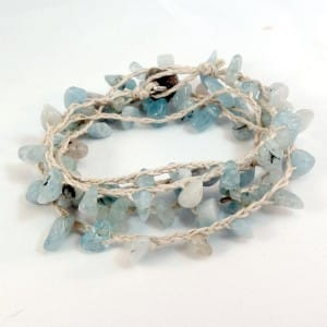 hemp and sea glass bead bracelet