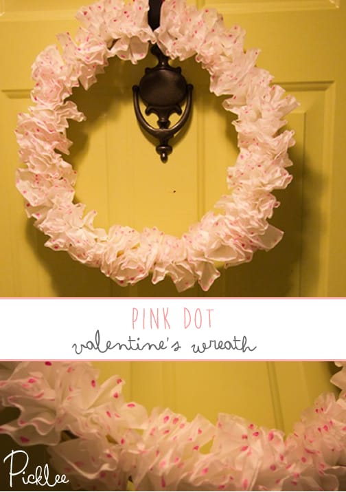 pink dot valentines wreath