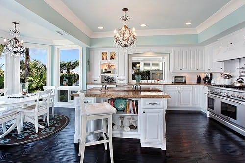 This Glamorous, Coastal White Kitchen Speaks For Itself. The Sky Blue Tray  Ceiling Paired With The HUGE Bank Of Floor To Ceiling Windows Evokes The  Feeling ...