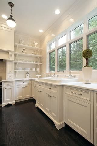 Rustic Wide Plank Wood Floors And A Farm Sink Perfection In This Elegant Chic Kitchen