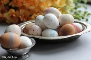 polka dot-string-warpped-easter eggs