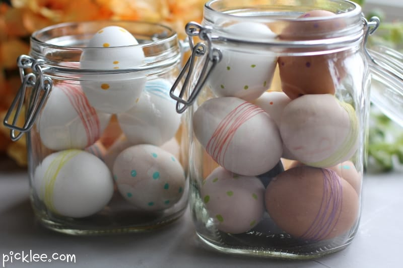 polka-dot-string wrapped-easter eggs