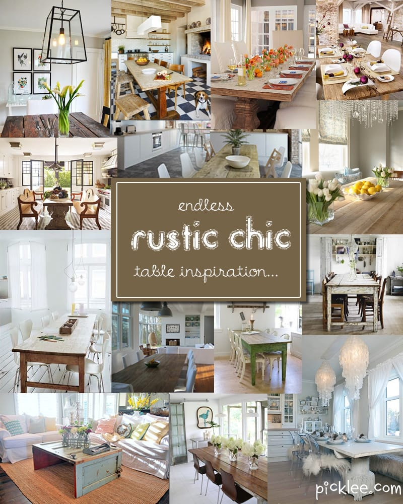 14 fabulous rustic chic dining tables inspiration picklee for Dining room decorating ideas rustic