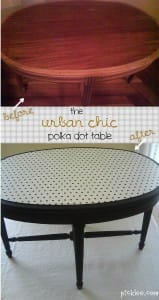 urban chic polka dot table-before-after