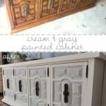 white and gray painted cabinet before and after