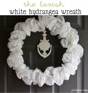 lavish white hydrangea coffee filter wreath