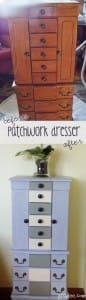 patchwork painted dresser before and after