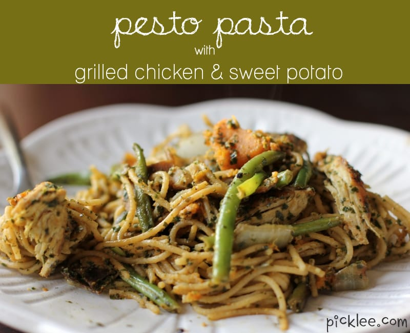 Pesto Pasta with Grilled Chicken & Sweet Potato {Recipe} - Picklee