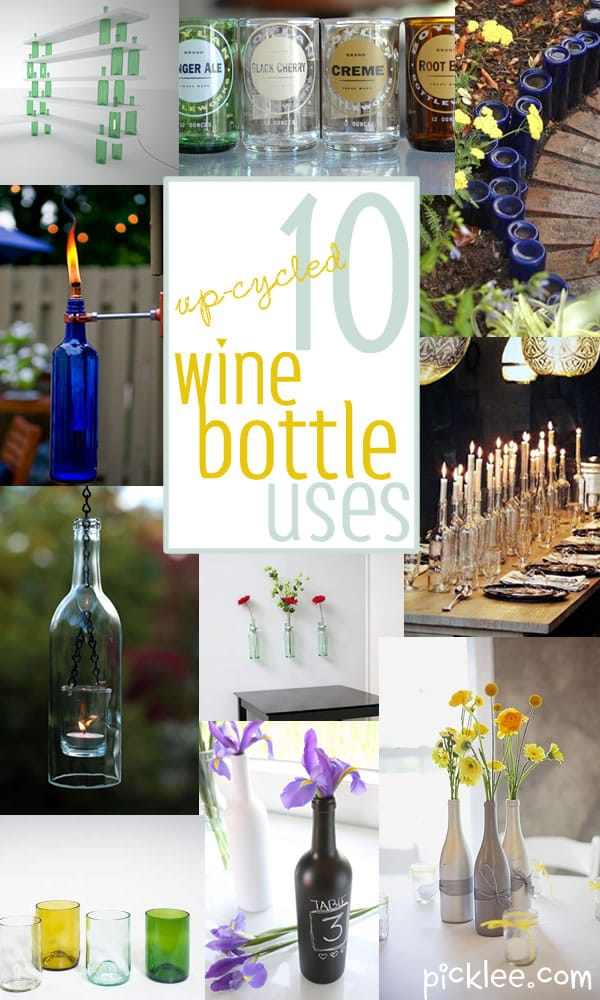 10 uses for up cycled wine bottles inspiration picklee - Craft ideas with wine bottles ...