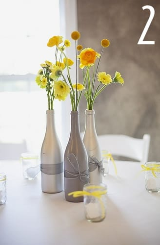 Yellow and grey wedding on pinterest yellow weddings for Painting flowers on wine bottles