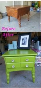 lime green painted table