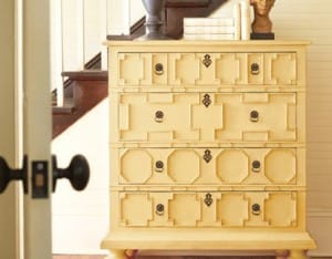 yellow painted cabinet