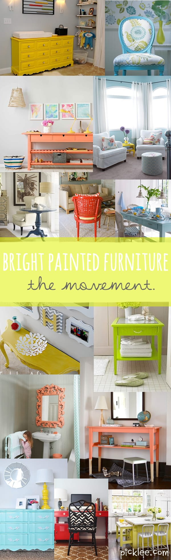 The Bright Painted Furniture Movement {Inspiration}