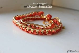 ribbon wrapped chain bracelet