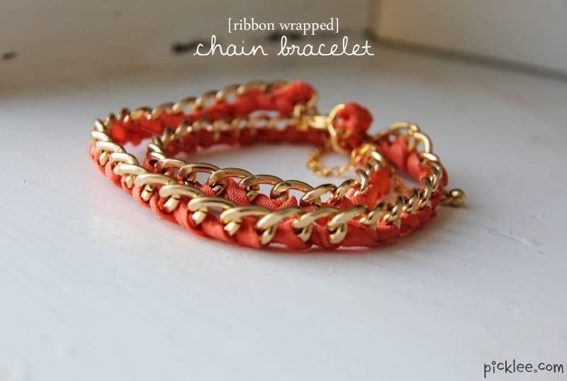 ribbon wrapped chain bracelet
