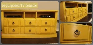 Repurposed yellow cabinet-tv console