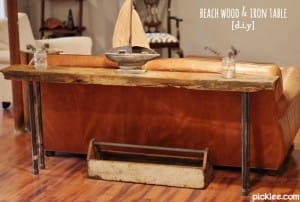 beach wood-iron rustic table-diy