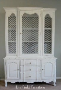 white and chevron cabinet