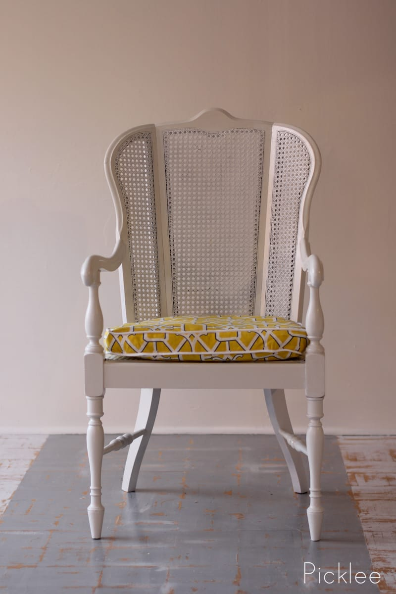 coastal white cane chair revival before after picklee. Black Bedroom Furniture Sets. Home Design Ideas