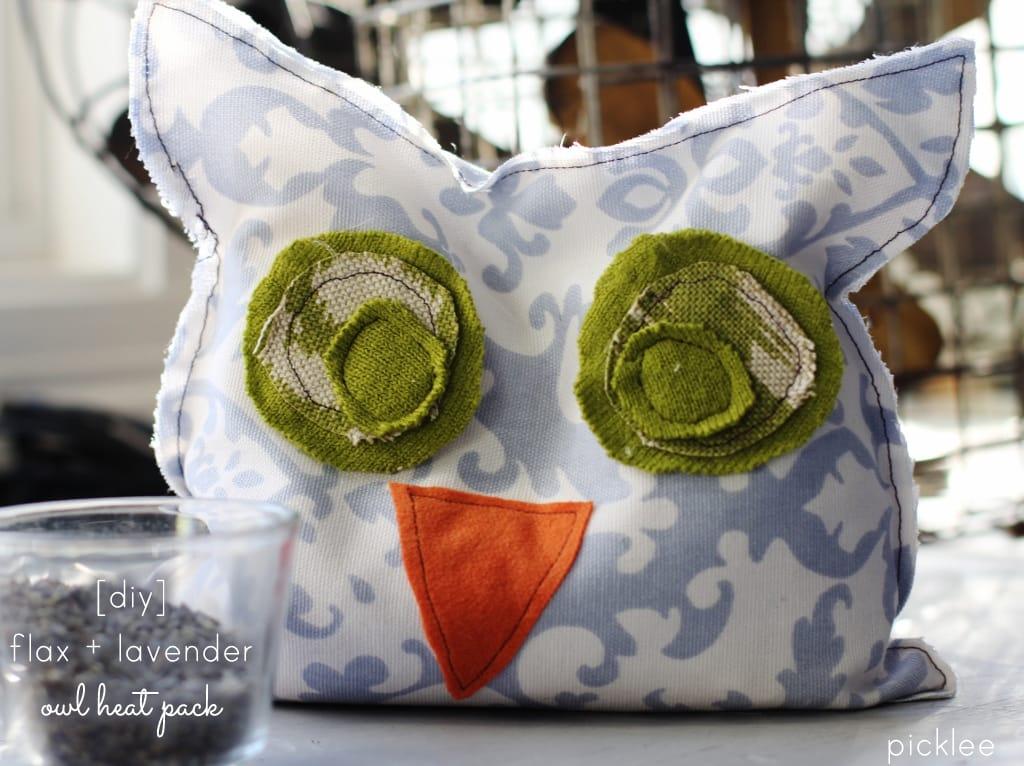 handmade owl heatpack-lavende and flax