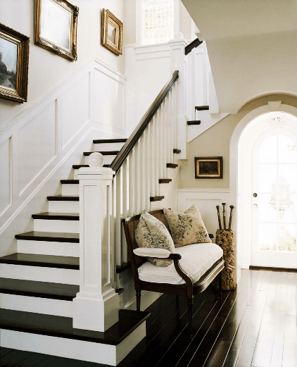 Black And White Stairs With Wood Floors