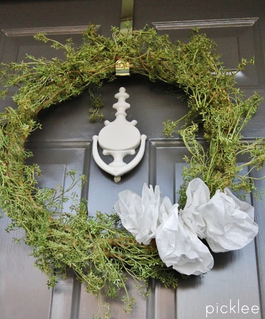 spring greens wreath-diy