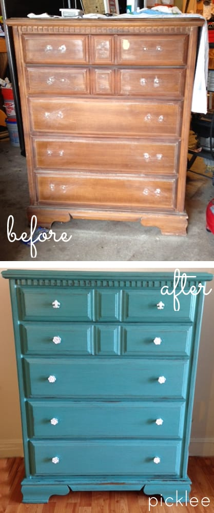 Cece Caldwell Destin Gulf Green Dresser Before After
