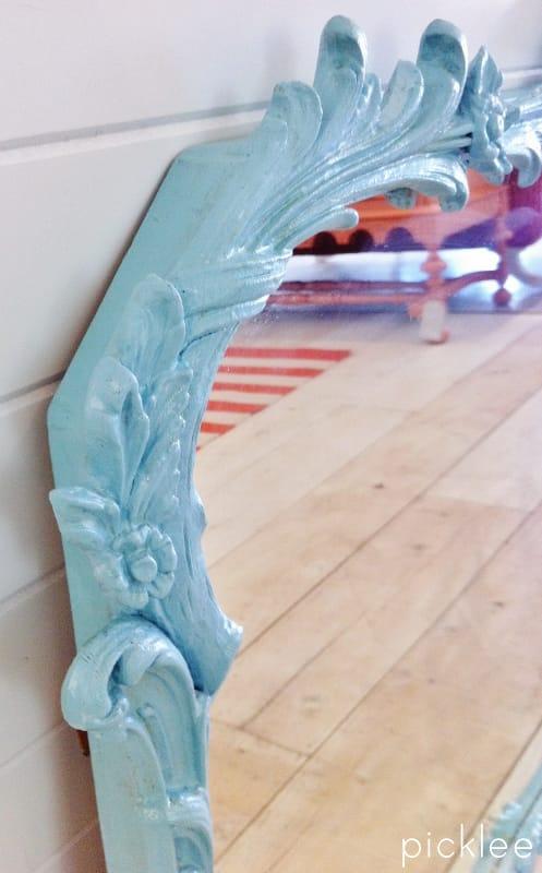 blue painted vintage mirror