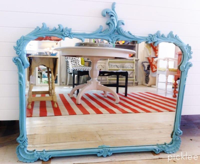 vintage blue painted mirror 1