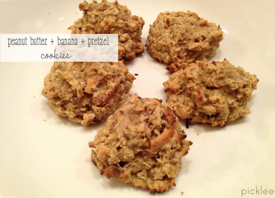 peanut butter-banana-pretzel cookies