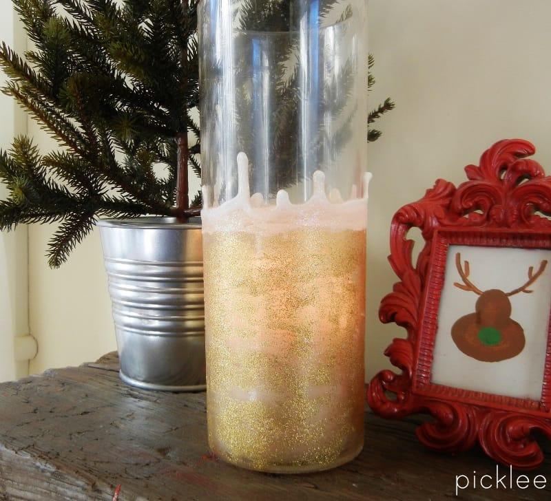 gold glitter vase diy 2