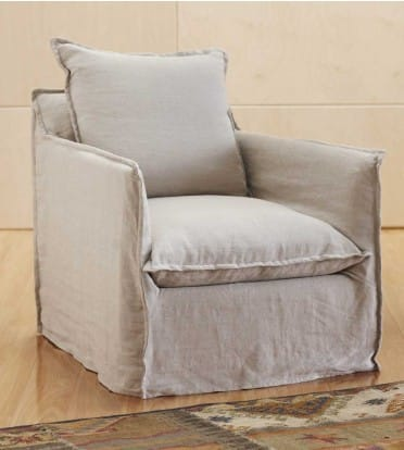 linen slipcovered chair