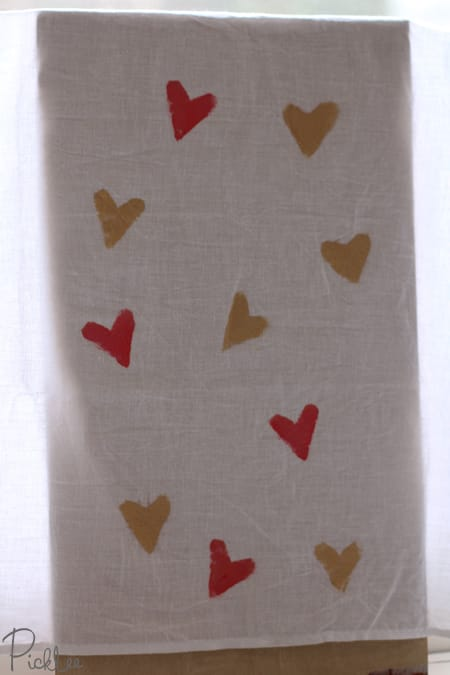 diy heart stamp tea towels