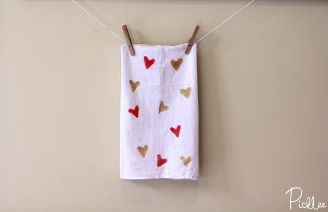 hand stamped tea towels