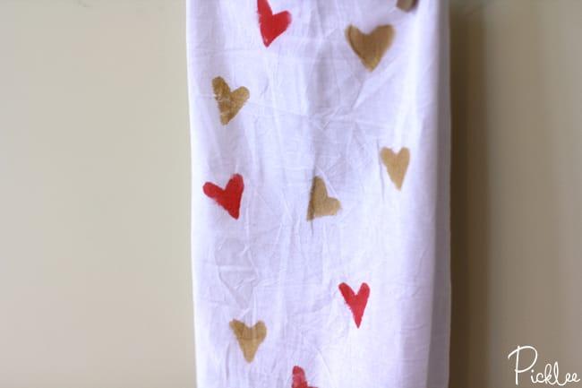 diy stamped tea towels