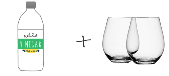 white-vinegar-clean-glasses-hard-water