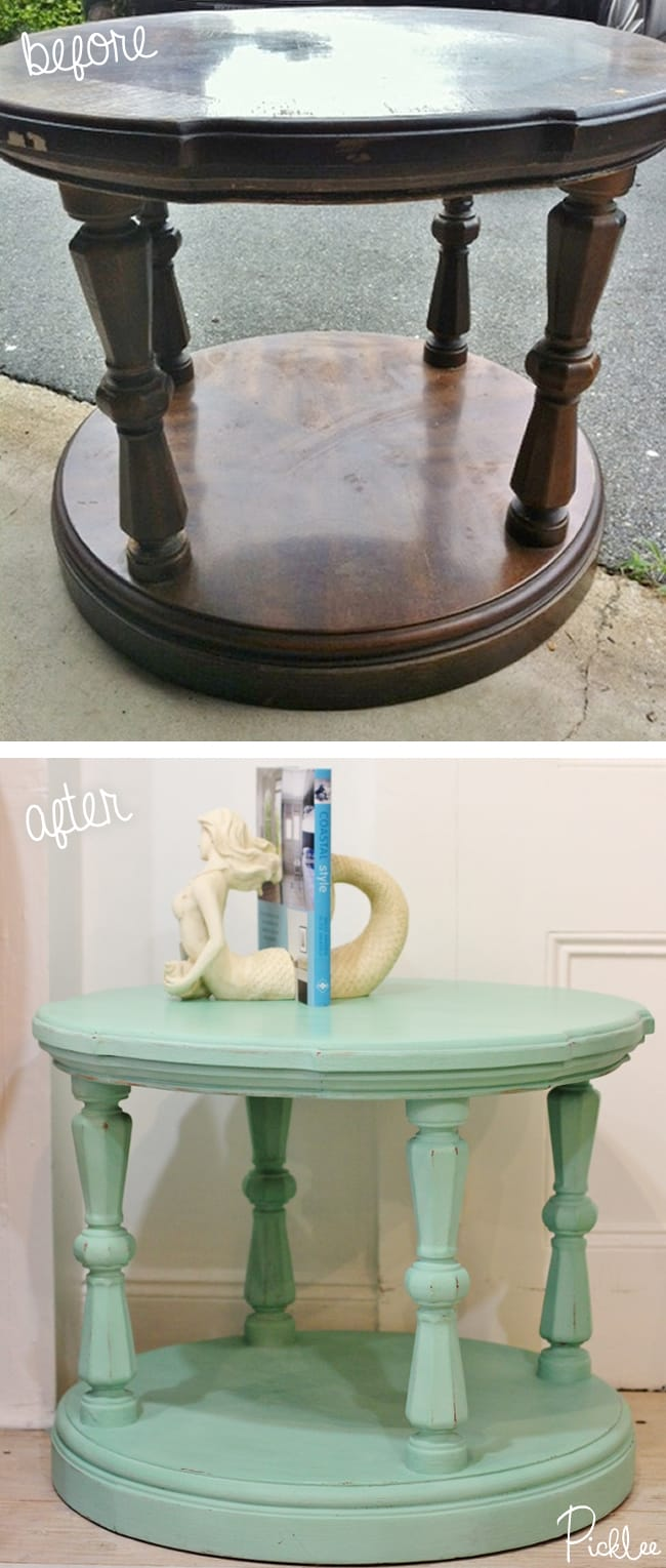 before-after-chalk paint- robins egg-table