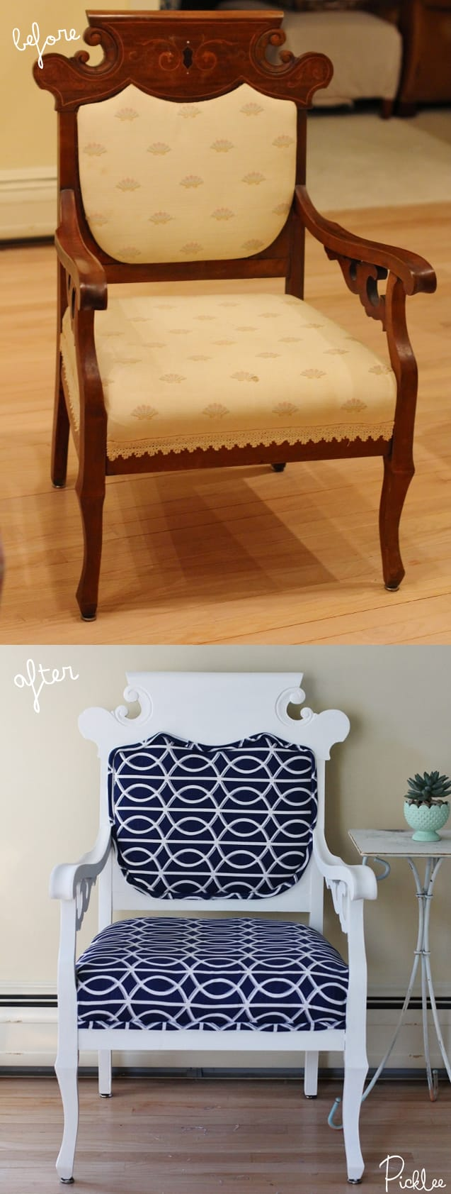 before and after chalk paint chair
