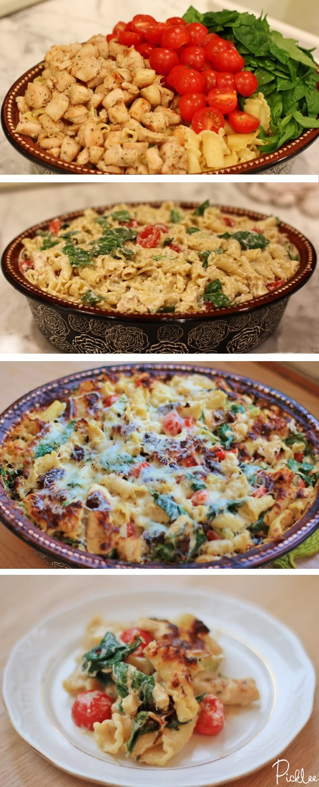 chicken-spinach-tomato-pasta bake recipe