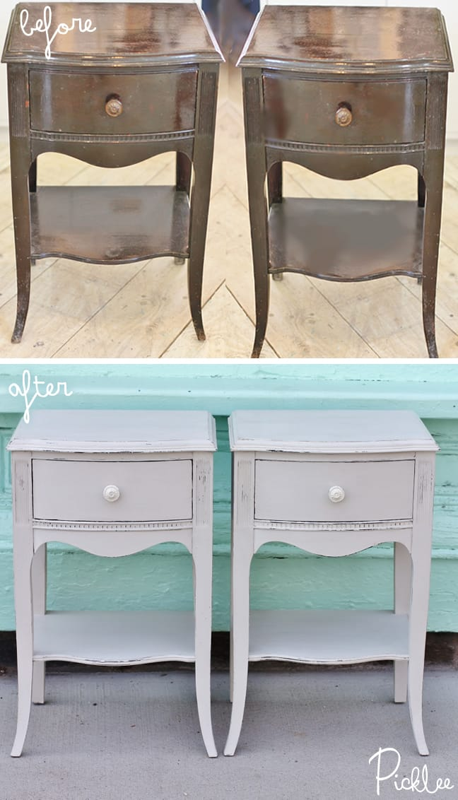 Revived Antique Dove Grey Nightstands Before Amp After