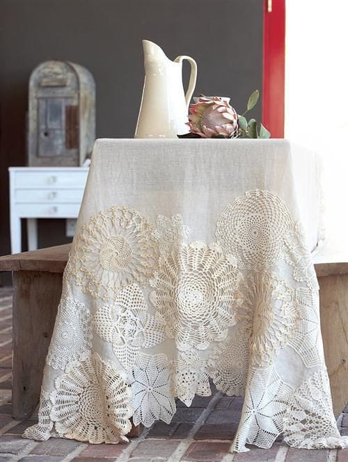 doilies on table cloth