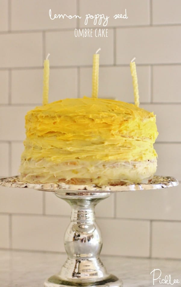 lemon poppy seed ombre cake