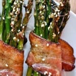 bacon wapped sesame asparagas