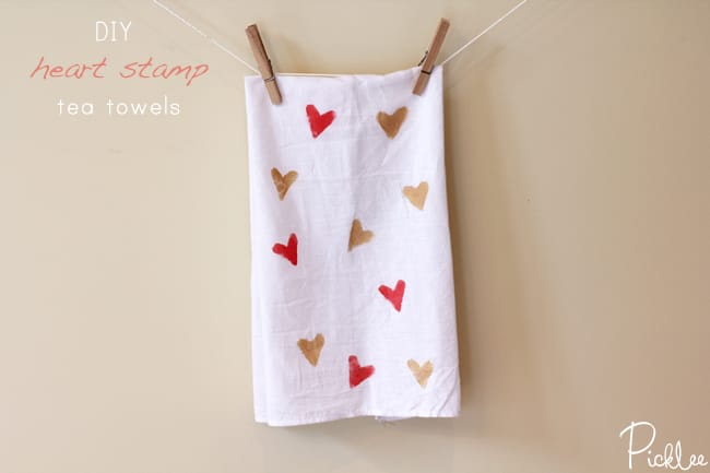 heart stamp towels
