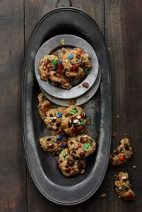 m&m pretzel-oatmeal-cookies