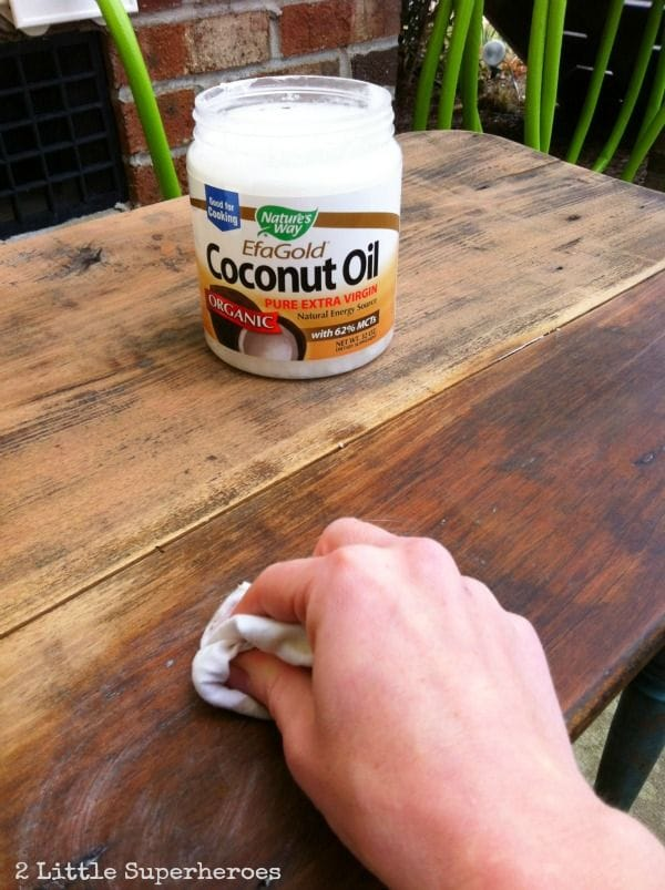 refinish wood-coconut oil