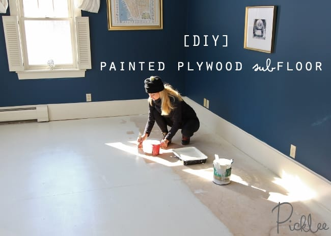 Diy painted plywood subfloor picklee painted plywood sub floor diy solutioingenieria Gallery