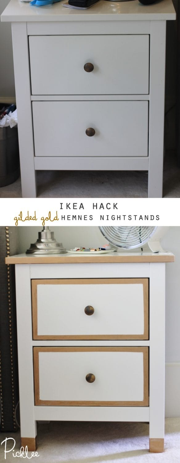 ikea hack gilded gold hemnes nightstands diy picklee. Black Bedroom Furniture Sets. Home Design Ideas
