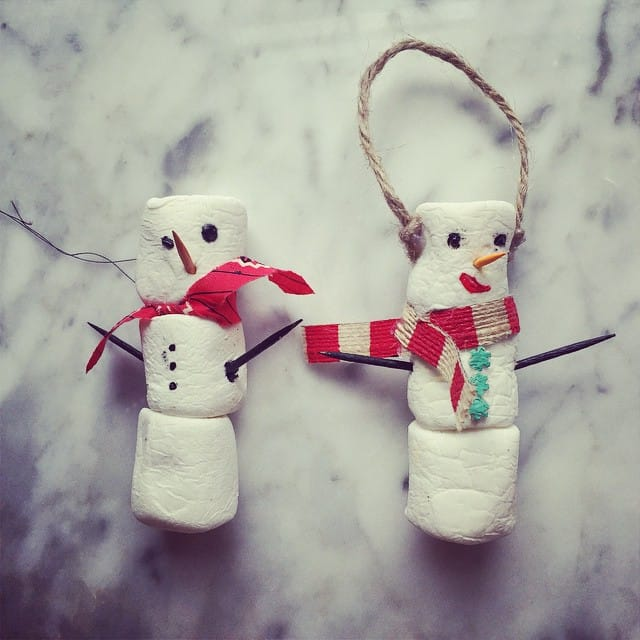 marshmallow snowmen-ornaments